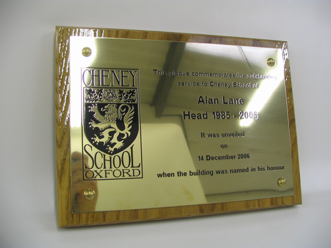brass engraved plaque with backing board Oxford London