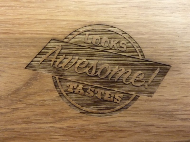 serving plate engraving Oxford hardwood