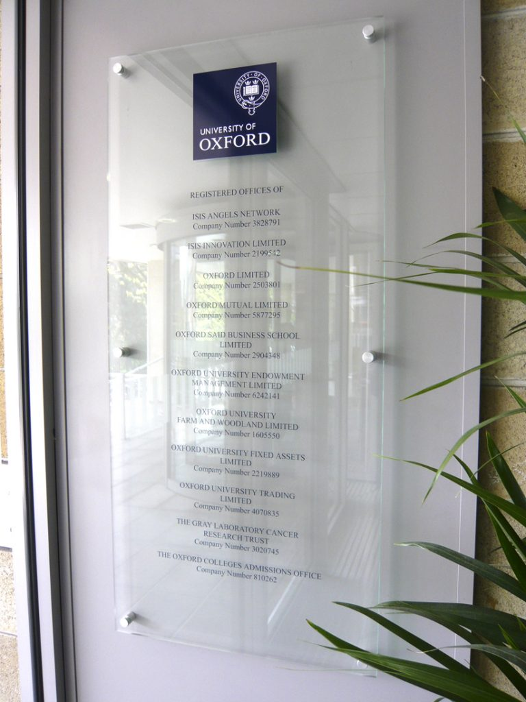 clear acrylic wall sign Oxford London