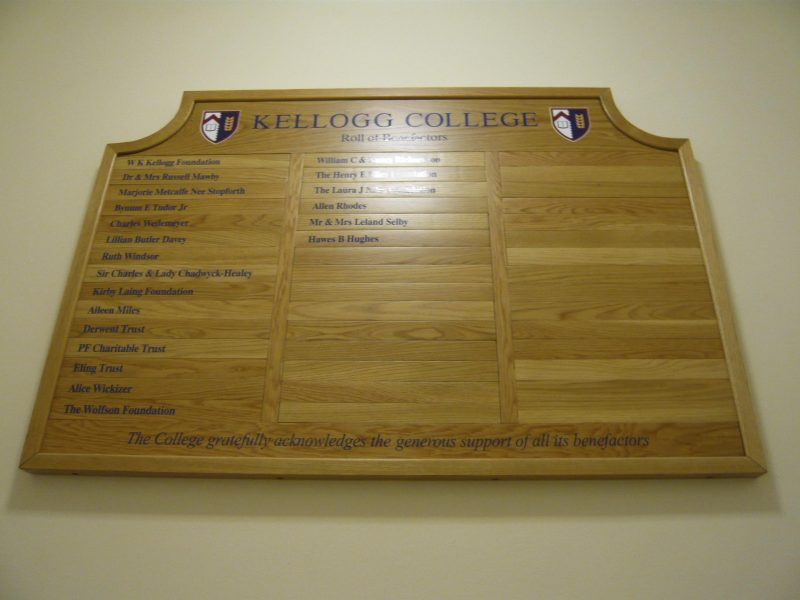 oak benefactor board Oxford London Cambridge