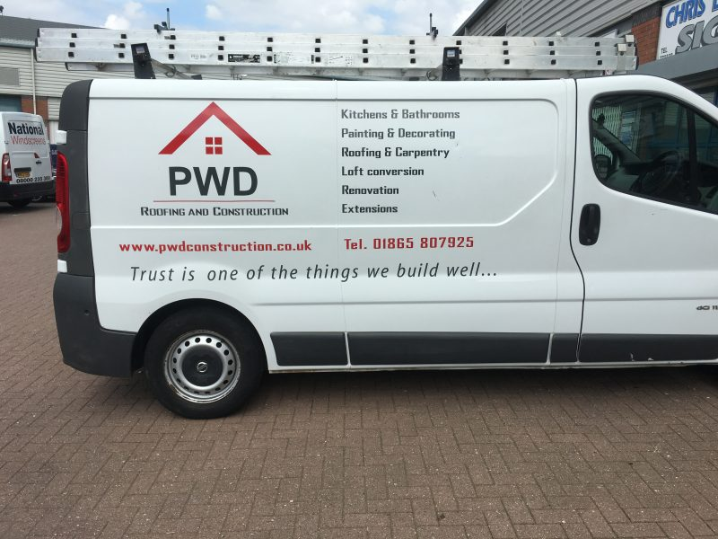 builders vehicle signage vinyl lettering Oxford