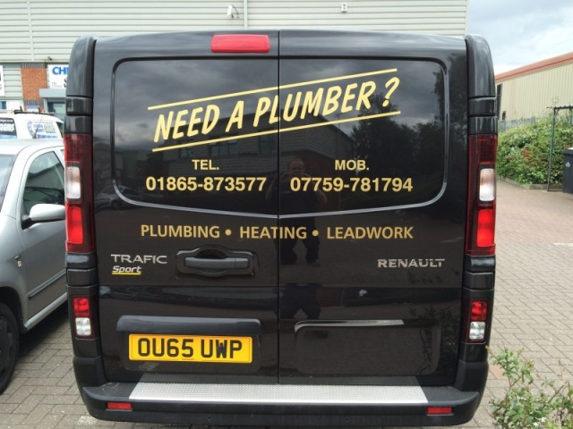 gold vinyl plumbers vehicle signage Oxford