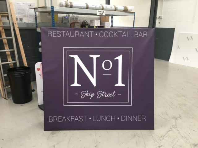 printed canopy signage Oxford restaurant signs