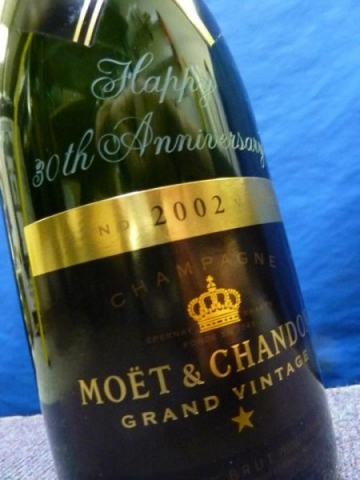 champagne bottle engraving name Oxford