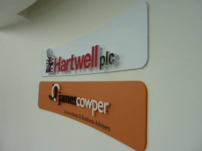 curved wall sign cut out lettering Oxford