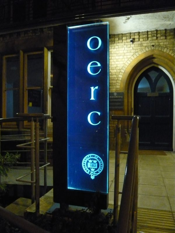 edge lit glass sign illuminated Oxford London
