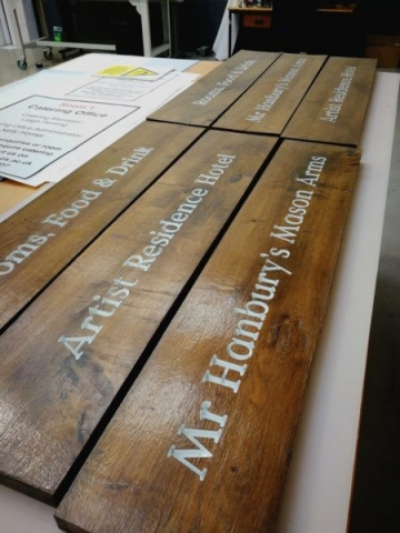 hardwood sign painted lettering engraved Oxford London