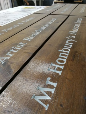 wood engraved painted lettering Oxford London