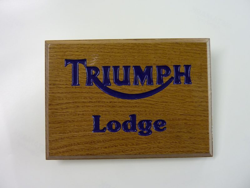 hardwood sign engraved painted lettering