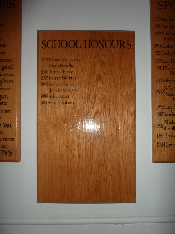 hardwood honours board vinyl lettering Oxford London