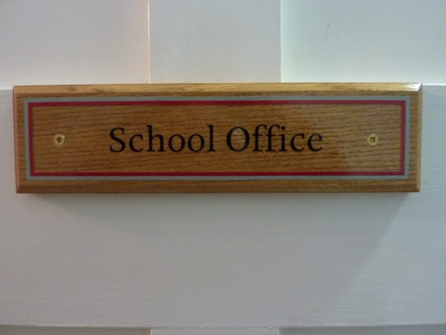school office wooden sign Oxford London
