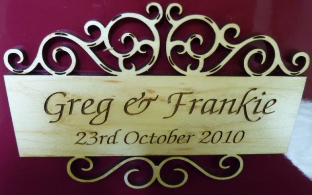 laser cut wood wedding signage