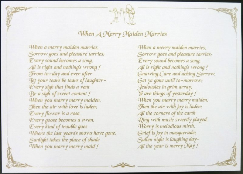poems for wedding laser etched paper