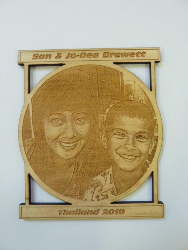 photo onto wood laser etched Oxford