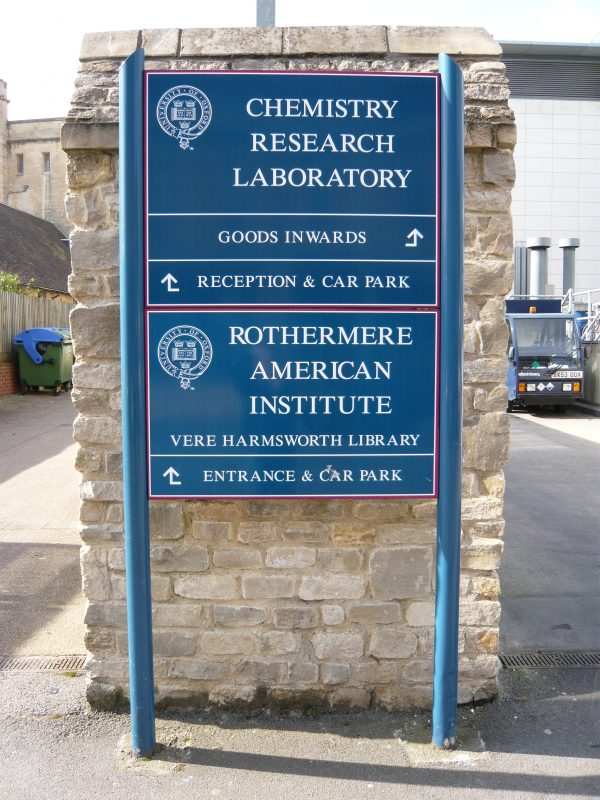 metal posted sign into concrete printed graphics Oxford