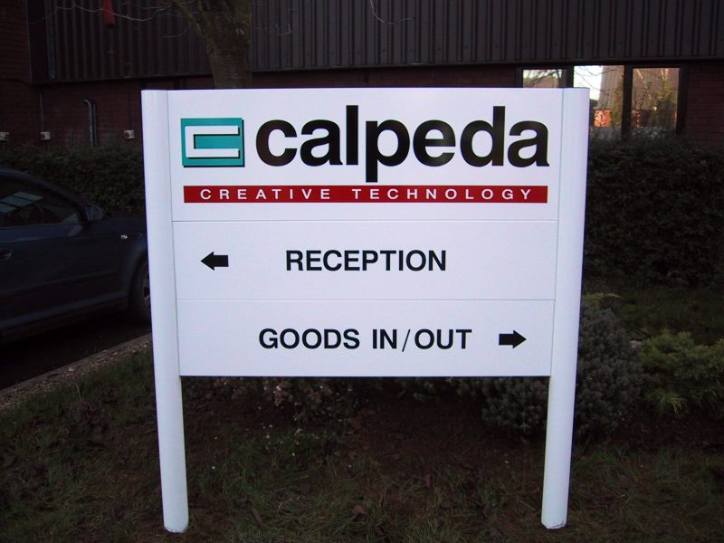 posted sign with lettering Oxford Abingdon Banbury Bicester