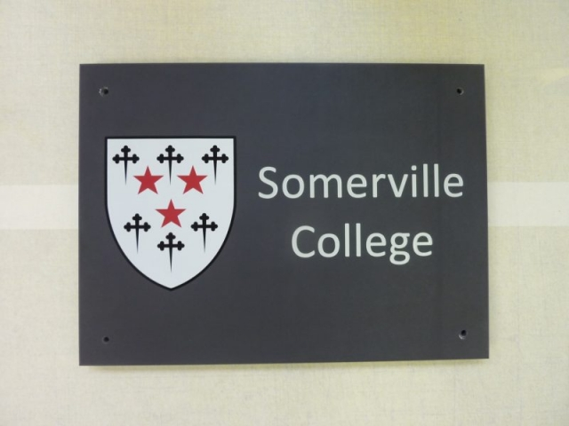 slate plaque with engraved lettering painted Oxford