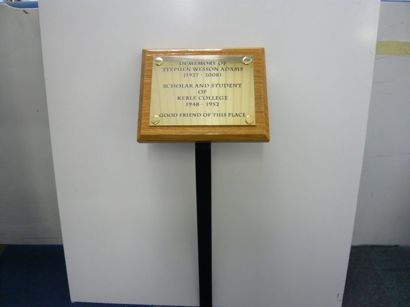 brass memorial plaque hardwood plinth Oxford London Abingdon