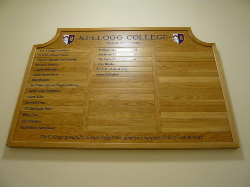benefactor boards college wooden signs Oxford Cambridge London