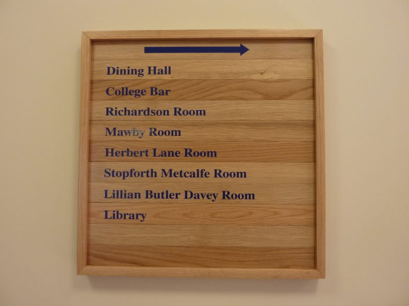 hardwood framed sign Oxford London vinyl lettering