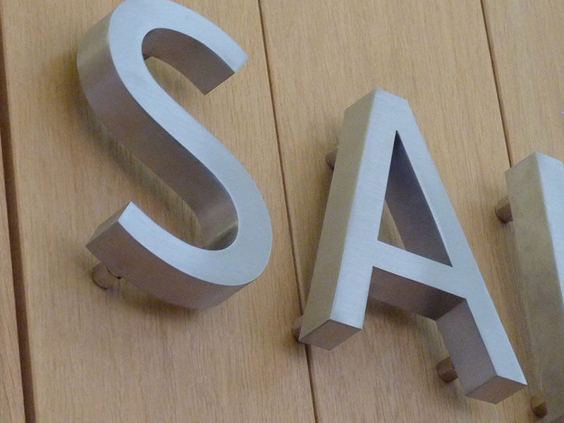 stainless steel fabricated lettering oxfordshire